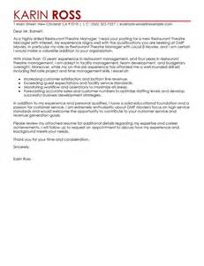 Theatre Cover Letter by Leading Professional Restaurant Theatre Manager Cover Letter Exle Cover Letter Exles