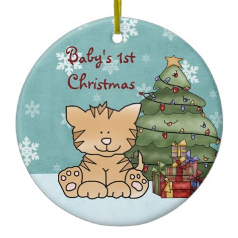 personalized baby s 1st christmas cat ornament zazzle