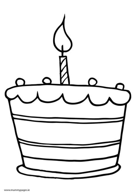 Cake with one candle Colouring Page | MummyPages.MummyPages.ie