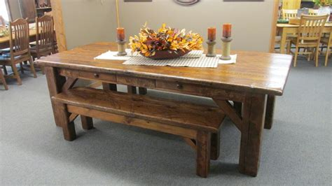 olde barn wood disressed harvest table with matching