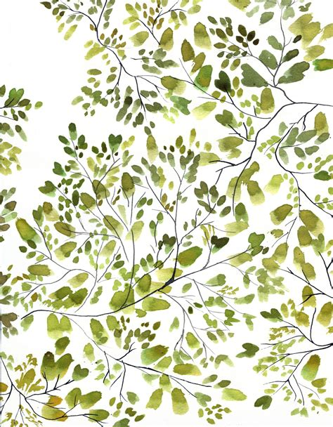 watercolor leaf pattern 10 8 2015 could this be my accent wall treetops green