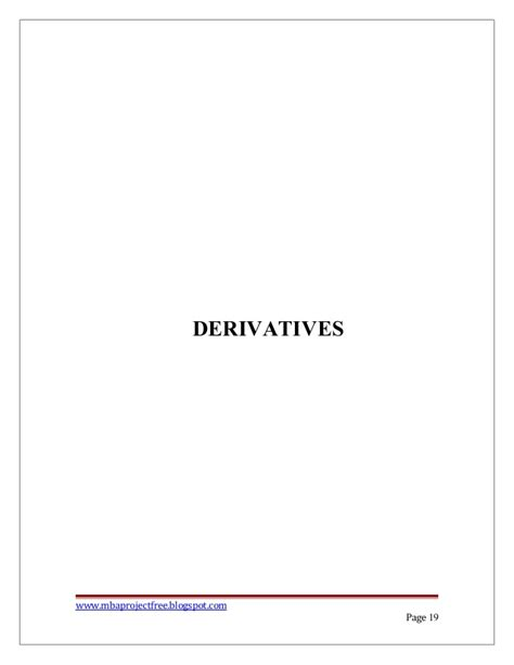 Mba Project On Derivatives Futures And Options Pdf by Finance Project Report On A Study On Financial Derivatives