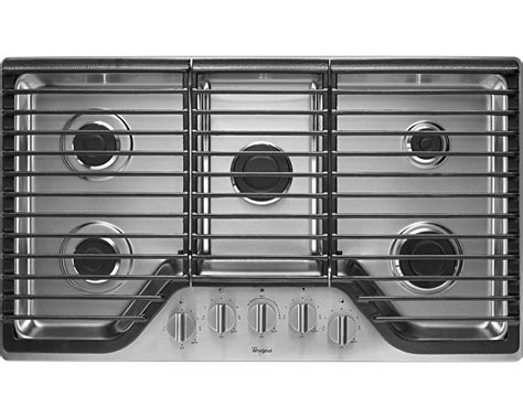 5 burner gas cooktops whirlpool wcg51us6ds 36 quot 5 burner gas cooktop w