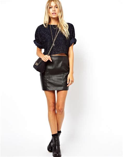 leather mini skirt looks 2014 2015 fashion trends 2016 2017