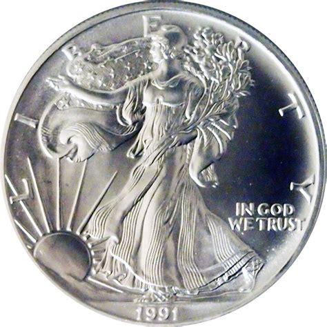 1 oz silver dollar value 1991 american silver eagle dollar bu 1oz silver
