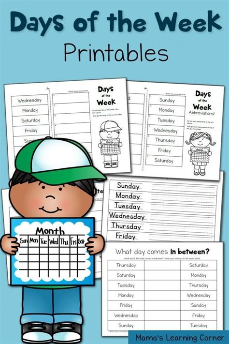 printable worksheets days of the week 16 best days of the week images on pinterest english