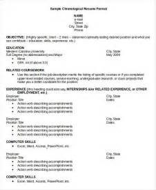 Resume Samples In Pdf Format by Chronological Resume Template 28 Free Word Pdf