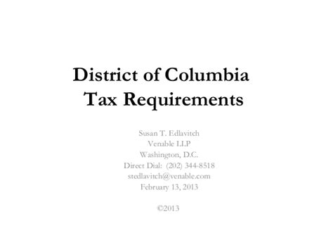 Columbia Mba Mph Requirements by Business Taxes Venable Doing Business 2 0