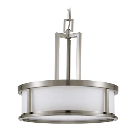 Brushed Nickel Glass Pendant Light Drum Pendant Light With White Glass In Brushed Nickel