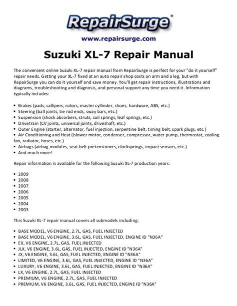 2007 suzuki xl 7 repair shop manual original set binder xl7 suzuki xl 7 repair manual 2003 2009