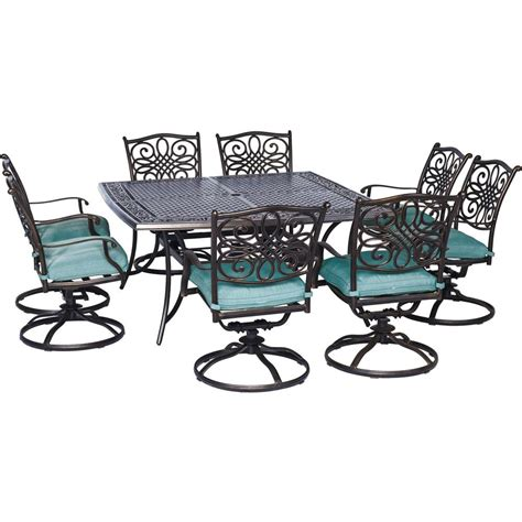 Swivel Rocker Patio Dining Sets Hanover Traditions 9 Outdoor Square Patio Dining Set And 8 Swivel Rockers With Blue