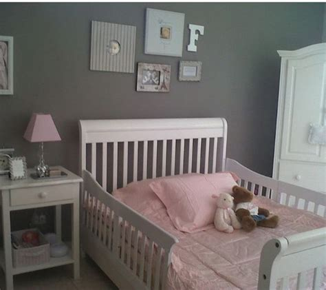 pink and grey toddler room bed rails and toddlers on