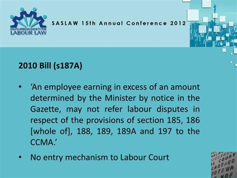 Labour Section 189 by Ppt Saslaw 15 Th Annual Conference Anton Myburgh Sc