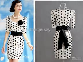 Sales fashion dresses black dots short sleeve satin women s dresses