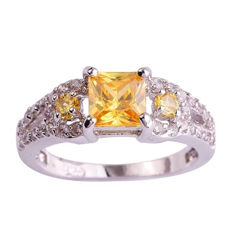lingmei wholesale cocktail dainty princess cut citrine