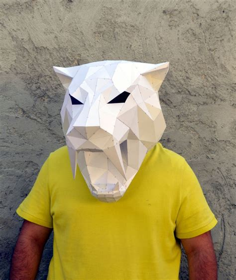 Paper Craft Mask - make your own sabertooth tiger mask papercraft