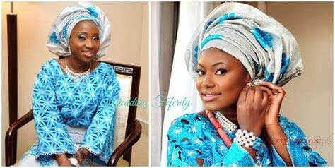 aso oke and lace attires for yoruba traditional weddings yoruba wedding brides in blue and silver attires nd silver