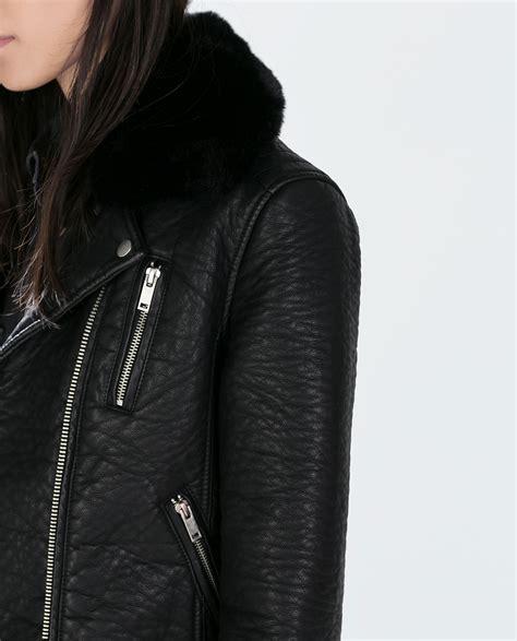 Jual Leather Jacket Zara zara faux leather jacket with detachable fur collar in black lyst