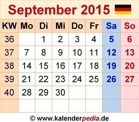 Kalender 2015 September Kalender September 2015 Als Excel Vorlagen