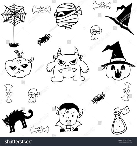doodle monsters vector pumpkins doodle vector illustration