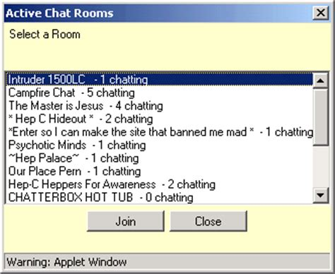 Chat Rooms List by Delphi Forums Member Support