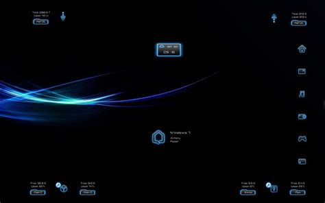 themes for windows 7 blue dark neon windows7 rainmeter theme