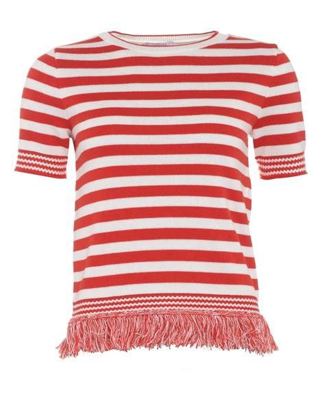 Blouse By Colmo iblues womens colmo jumper white fringe striped knitwear