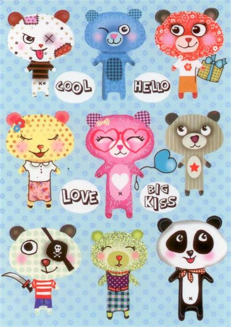Sticker Postkarten Drucken by Cartes D Art Cool Love Bears Sticker Postkarte