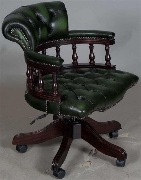 Captains Style Green Leather Swivel Office Desk Chair Swivel Captains Chairs