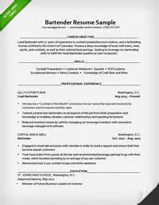 resume for bartender position descriptions exles of personification bartender resume sle resume genius