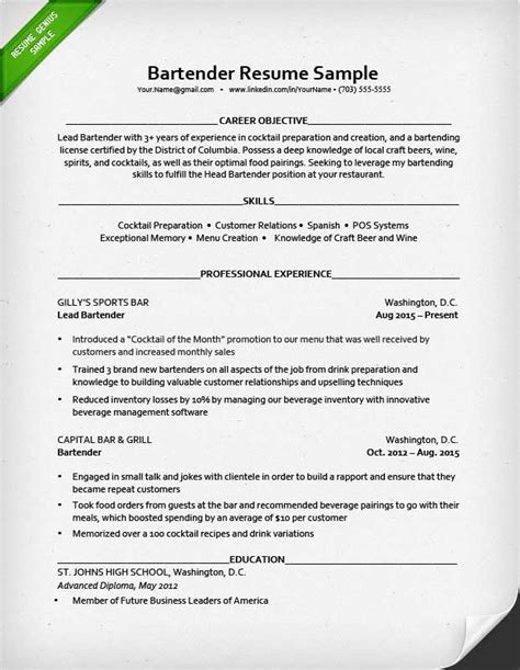 bartender resume template unforgettable bartender resume exles to stand out myperfectresume