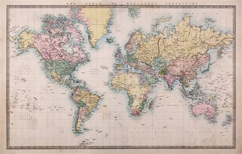 Classic World Map Wallpaper Wall - 1860 vintage world map wallpaper wall mural by loveabode