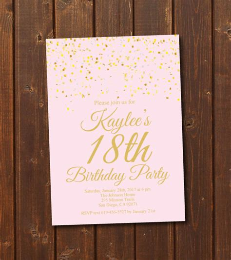 templates for debut invitations 18th birthday invitation printable gold pink birthday