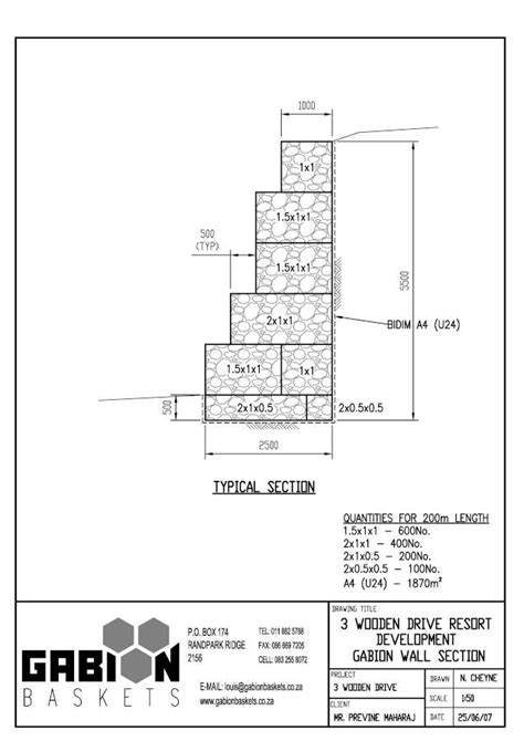 gabion autocad design drawings