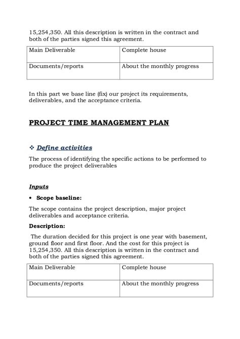 Project On Construction Of House Report Project Implementation Agreement Template