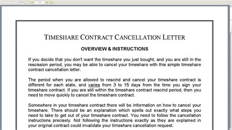 cancellation letter for timeshare contract timeshare contract cancellation letter