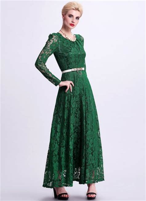 emerald green long sleeve dress emerald green lace maxi dress with long sleeves rm340