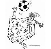 SpongeBob SquarePants  Spongebob Playing Soccer Coloring Page