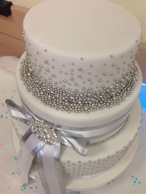 Silver Wedding Cake by 25th Silver Wedding Anniversary Cake Cakecentral