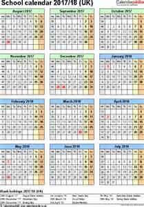 2018 Calendar With School Holidays School Calendars 2017 2018 As Free Printable Excel Templates