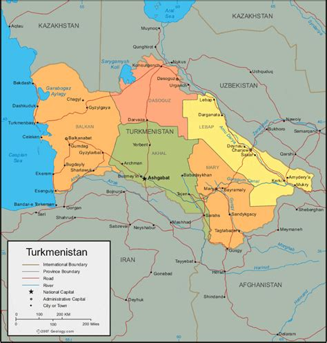 turkmenistan physical map turkmenistan map and satellite image