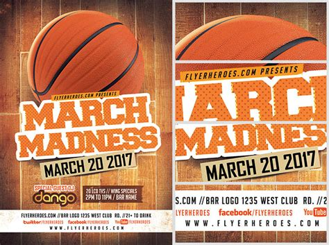 March Madness Basketball Flyer Template Flyerheroes Madness Flyer Template