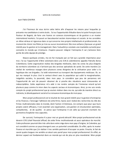 Lettre De Motivation Banque Finance Assurance Lettre De Motivation Master Finance