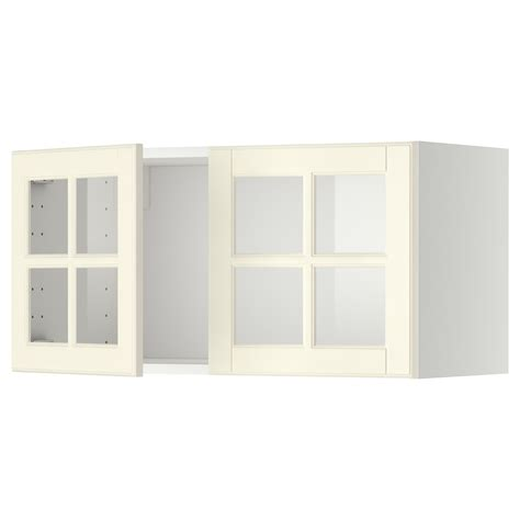 Wall Kitchen Cabinets With Glass Doors Metod Wall Cabinet With 2 Glass Doors White Bodbyn White 80x40 Cm Ikea