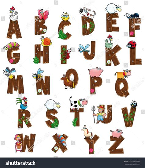 alphabet with animals stock vector alphabet with animals and farmers and