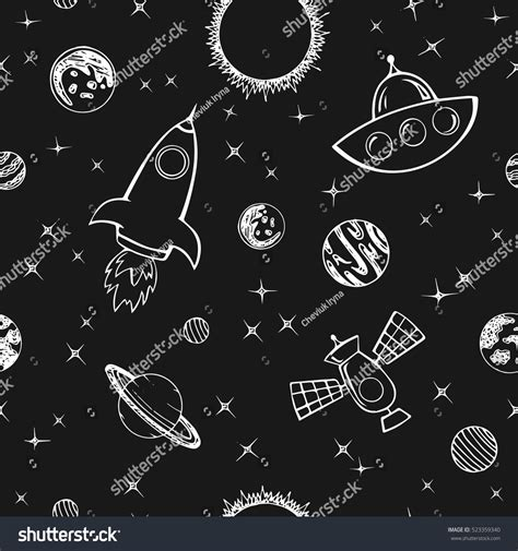 pattern white space seamless vector pattern planets stars on stock vector