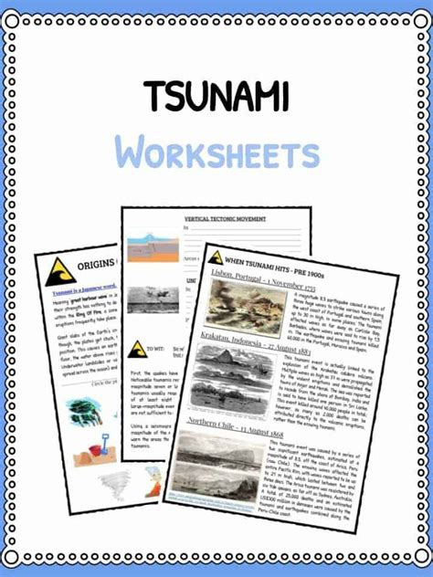 Tsunami Worksheet by Science Worksheets Lesson Plans Study Material For