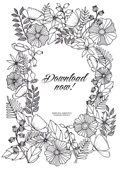 flower wreath coloring page adult coloring page in the floral wreath pattern try this