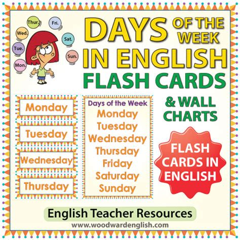 different days of week days of the week flash cards charts