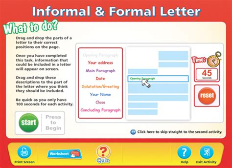 layout of a formal letter ks3 formal informal letters content classconnect
